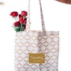 100% Cotton Splash-Proof Brown/Cream Tote Bag for Women